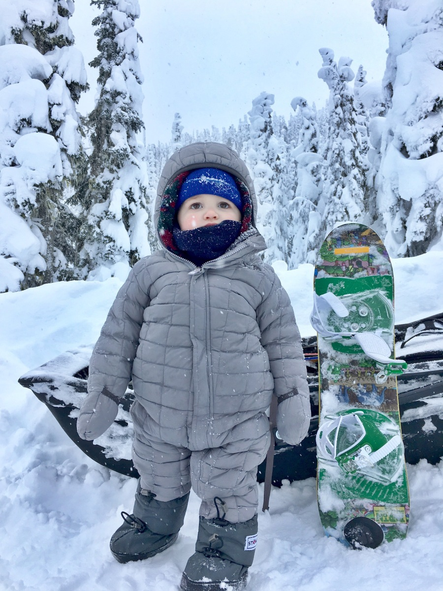 Starting a toddler on a snowboard